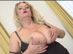 Fat older blonde fondles her big natural tits movies at kilosex.com