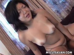 His cock cums inside her shaved asian pussy tubes at asian.sgirls.net