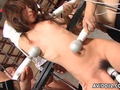 Bound japanese babe vibrated by many toys tubes at japanese.sgirls.net
