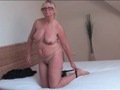 Glasses look sexy on solo masturbating mature videos