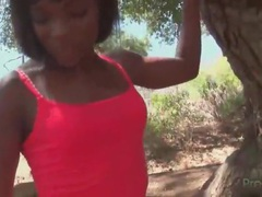 Fit black girl ana foxxx on a hike outdoors videos