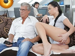 Daddy4k. boy works on computer while his gf seduces old guy, Brunette, Teen, Old &,  Young, HD Videos, Teen Sex, Girl Masturbating, Small Boobs, Cowgirl, Lick My Pussy, European, Seduced, Old Young Sex, Old Lovers, Dad, Daddy4K, Teen Fuck, Old Man Fuck videos