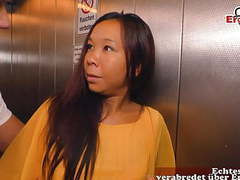 German asian milf persuaded to cheat in lift, Amateur, Asian, Funny, Top Rated, MILF, German, HD Videos, Secretary, Cheating, Cum in Mouth, Role Play, Seduction, Asian MILF, Cheating Wife, Lift, Cheat, Asia MILF, Pick Up, German MILF, Asia, Deutsch, EroCo videos