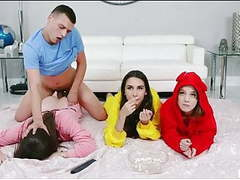Girls interrupted while watching a movie   (#foursome), Pornstar, Group Sex, Ass Licking, 18 Year Old, Big Tits, Big Ass, Eating Pussy, Stories, European, Foursome, Interrupted, American, Watching, Girl, Movie, Day, Every, Every Day, Group Movie videos