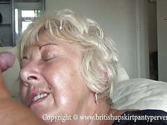 British mature amateur takes a huge facial in her own home,  videos
