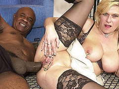 Pierced milf ass fucked by a black monster cock,  videos