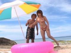 Horny japanese girl kyoko fukazawa enjoys having sex on the beach movies