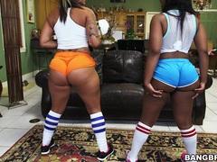 Ebony babes spicy j and nina rotti with massive butts tease together, Lesbian, Ebony, Chubby, Shorts, Socks, Black Butt, Thong, Big Tits, Natural Tits videos