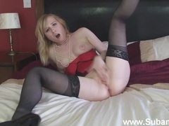 Amateur blonde girl satine spark enjoys masturbating on the bed, Solo Models, Masturbation, Blondes, Natural Tits, Lingerie, Stockings, Nylon, High Heels, Long Hair, Pussy, Fingering, British videos