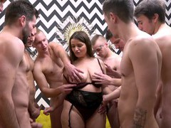 Busty mature slut enjoys getting fucked by lot of amateur guys, Mature, Gangbang videos