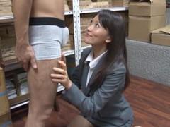 Lustful japanese secretary kozue hirayama drops on her knees to blow videos