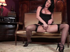 Mature slut leah moans while pleasuring her pussy on a sofa, Solo Models, Masturbation, MILF, Brunettes, Lingerie, Stockings, Nylon, High Heels, Natural Tits, Big Tits, Pussy movies at find-best-pussy.com