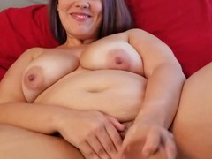 Horny chick moans loudly while drilling her tight cunt with a toy, BBW videos