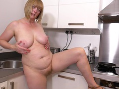 Mature slut april takes off her clothes in the kitchen to play, Mature, BBW videos