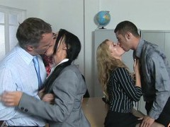 Claudia adams and bobbi eden get talked into sharing hard cocks, Foursome, Group Sex, Hardcore, Pornstars, Office, Lingerie movies at freekiloporn.com
