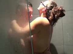 Amazing brunette girl makes a guy happy by sucking his big dick, Couple, Hardcore, Long Hair, Glasses, Handjob, Blowjob, Chubby, Missionary, Doggystyle, Pussy, Shaved Pussy, Housewife, Shower, Natural Tits movies at kilomatures.com