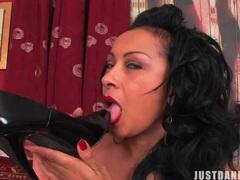 Horny mature danica collins licks her high heels and plays with them, Mature, British movies at kilogirls.com