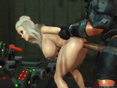 Sci-fi soldier bangs a sexy blonde in the lab, 3D Porn videos