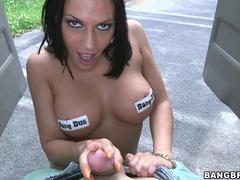 Brunette cutie rachel starr gets to suck a hard cock outdoors, Couple, Hardcore, Reality, Car Fucking, Brunettes, Miniskirt, Thong, Big Tits, Fake Tits, Blowjob, Handjob, Ball Licking videos