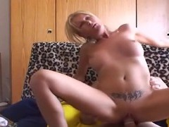 Fake boobs blondie gives a blowjob and gets fucked balls deep, Couple, Hardcore, Blondes, Blowjob, Pussy, Shaved Pussy, Tattoo, Big Cocks, Big Tits, Fake Tits videos