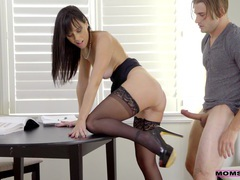 Horny milf alana cruise gives head under the table and rides well, Couple, Hardcore, Pornstars, MILF, Brunettes, Long Hair, Miniskirt, Blowjob, Lingerie, Stockings, Nylon, Fingering, Cowgirl, Natural Tits, High Heels videos