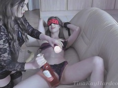 Sexy babe gets blindfolded and pleasured by kinky tina kay, BDSM, Fetish, Slave, Femdom movies at kilogirls.com