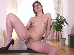Homemade video of seductive mature meggie marika having some fun, Solo Models, Masturbation, MILF, Glasses, Natural Tits, Panties, Pussy, Hairy, Asshole, High Heels, Fingering, Toys tubes