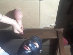 Dude with a stiff dick gets milked by a naughty babe with a mask, BDSM, Fetish, Slave, Latex videos