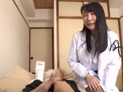 Foxy japanese girl with stockings enjoys riding a lucky patient videos