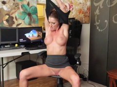 Shaved pussy mature silvia saige moans while masturbating on a chair, Solo Models, Masturbation, Pornstars, MILF, Toys, Vibrator, Pussy, Shaved Pussy, Asshole, High Heels, Big Tits, Fake Tits videos