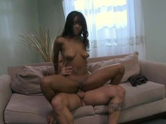 Hot ebony girl riyanna skie gives head and rides a white cock, Couple, Hardcore, Ebony, Long Hair, Blowjob, Cowgirl, Missionary, Pussy, Shaved Pussy, Natural Tits, Cumshot, Facial videos