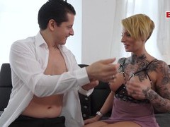 German short hair business milf threesome mmf, Threesome, MMF, Hardcore, Blondes, Short Hair, Tattoo, Blowjob, Pussy Licking, Fingering, Big Tits, Fake Tits, Doggystyle, High Heels, Pussy, Shaved Pussy, German, MILF videos