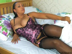 Busty cougar danica collins enjoys fingering her cunt on the bed, Solo Models, Masturbation, British, MILF, Pornstars, Lingerie, Stockings, Nylon, Big Tits, Natural Tits, Pussy, Asshole videos