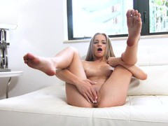 Fit blonde girl scarlett fall spreads her long legs to masturbate, Solo Models, Masturbation, HD Teen, Long Hair, Shorts, Natural Tits, Thong, Pussy, Shaved Pussy, Fingering movies at kilopills.com