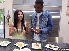 Hardcore interracial fucking in the kitchen with asian cindy starfall movies