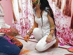 Holi special- yourpriya enjoyed brother's huge dick in pussy movies at freekiloclips.com