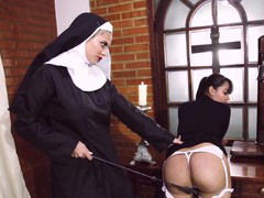 Kinky nuns drop their clothes to have sex with a strapon. hd, BDSM, Fetish, Slave, Spanking, Femdom movies at freekiloporn.com