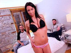 Wife peaches gold enjoys getting double penetrated for the first time, Threesome, MMF, Hardcore, Brunettes, Bra, Panties, Big Tits, Fake Tits, Handjob, Blowjob, Tattoo, Doggystyle, Pussy, Shaved Pussy, Anal, Double Penetration videos