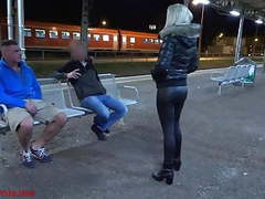 Public threesome with double facial directly on the station!, Amateur, Blonde, Blowjob, Facial, MILF, Threesomes, German, HD Videos, Outdoor, Cum Swallowing, Leather, Train, Threesome, Porn for Women, Double, Leather Pants, Station, Two Guys, Guy, Pants,  movies at kilomatures.com