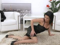 Foxy mature celine noiret spreads her legs to masturbate on the floor, Solo Models, Masturbation, Brunettes, MILF, High Heels, Natural Tits, Lingerie, Stockings, Nylon videos