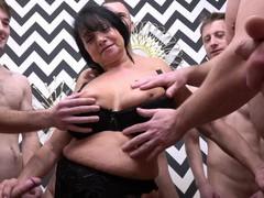 Amateur homemade gangbang with cock hungry german mature hana, Mature, BBW, Granny, Gangbang videos