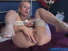 Horny blonde chick evey kristal moans while pleasuring her cunt, Solo Models, Masturbation, Bra, Lingerie, Stockings, Nylon, Thong, Fingering, Asshole, Hot Ass, Pussy, Shaved Pussy, Natural Tits, British videos