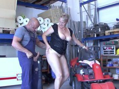 Chubby german mature opens her legs to ride a large manhood, Mature, German movies at freekiloclips.com