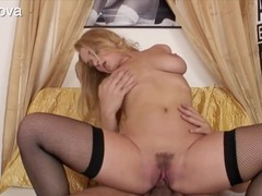 Sexy and hot blonde girls enjoy their fleshy pussies getting fucked deep and good with hard dicks in cowgirl position, Couple, Hardcore, Blondes, Compilations videos