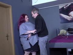 Hardcore fucking between a dirty dude and a slutty bbw redhead, BBW videos
