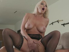 Sensual fucking on the bed with seductive wife london river in stockings, Couple, Hardcore, Pornstars, MILF, Blondes, Long Hair, Bra, Lingerie, Stockings, Nylon, Big Tits, Natural Tits, Blowjob, Titjob, Cowgirl, Pussy, Shaved Pussy, Housewife videos