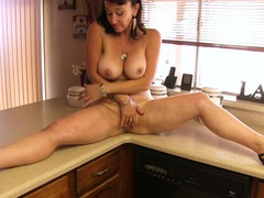 Chubby model sugar sweet opens her legs to masturbate in the kitchen, Mature videos