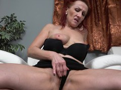 Naughty redhead mature drills her horny pussy with a glass dildo, Mature videos