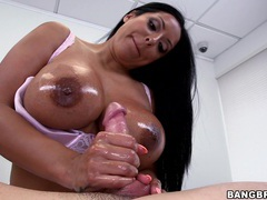 Busty babe kiara mia pleases a guy by massaging his big cock, Couple, Hardcore, Pornstars, MILF, Brunettes, Long Hair, Chubby, Massage, Bra, Big Tits, Fake Tits, Handjob movies at kilovideos.com