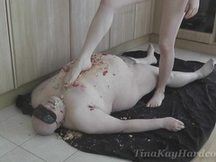 Dominant slut tina kay takes off all of her clothes and tortures a guy, BDSM, Fetish, Slave, Messy, Food Fetish, Femdom, British videos